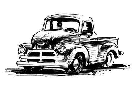Vintage American tccuk. Ink black and white drawing