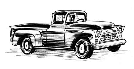 Vintage American truck. Ink black and white drawing Stockfoto - 108439710