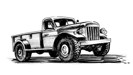 Old American truck. Ink black and white sketch