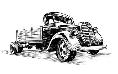 Ink black and white drawing of a vintage American truck Stockfoto