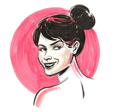 Pretty brunette woman on a pink background 版權商用圖片