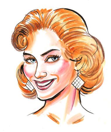 Beautiful blonde woman. Ink and  illustration Stockfoto - 108439317