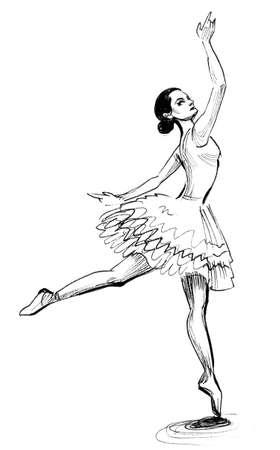 バレエダンサー。インク黒と白のイラスト