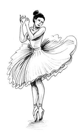 Dancing ballerina. Ink and  sketch Banco de Imagens