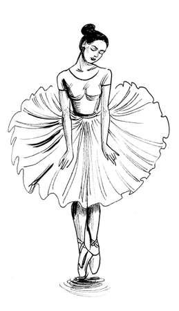 Dancing ballerina. Ink black and white sketch Stockfoto