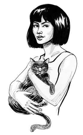 Pretty woman with a cat in her hands