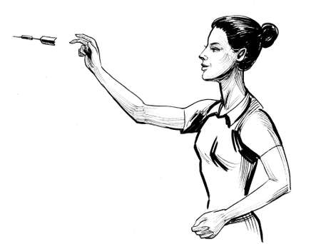 Woman throwing dart. Ink black and white illustration