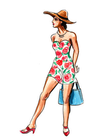 Pretty woman in summer dress. Ink and watercolor illustration 版權商用圖片