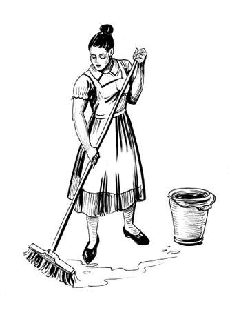 Housewife mopping floor. Ink black and white illustration