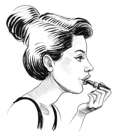 Pretty girl with a lipstick. Ink black and white drawing