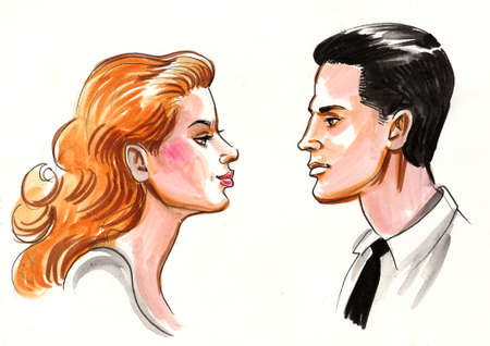 Beautiful woman and handsome man. Ink and  illustration Reklamní fotografie - 108126473