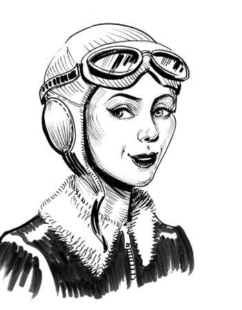 Beautiful female pilot in helmet. Ink black and white drawing Фото со стока