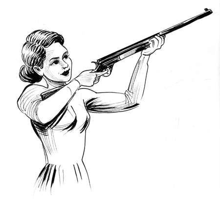 Pretty lady aiming with a riffle. Ink black and white drawing Stockfoto - 108126476
