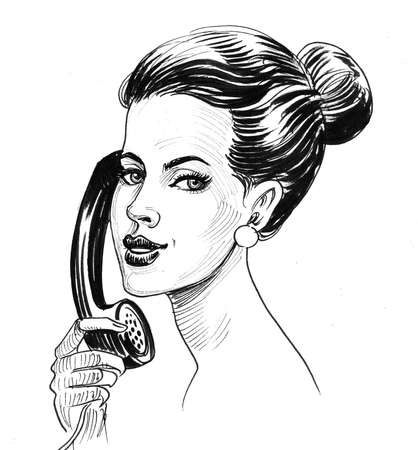 Pretty woman talking over the retro telephone. Ink black and white drawing Stockfoto