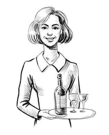 Pretty waitress with bottle of wine and two glasses Imagens - 108126478