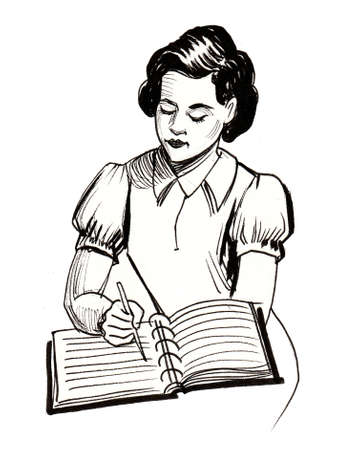 Girl writing in a book. Ink black and white illustration 스톡 콘텐츠