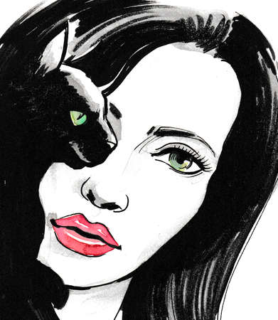 Pretty girl and black cat with green eyes. Ink and watercolor