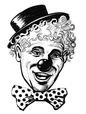 Clown in tie and hat. Ink black and white drawing