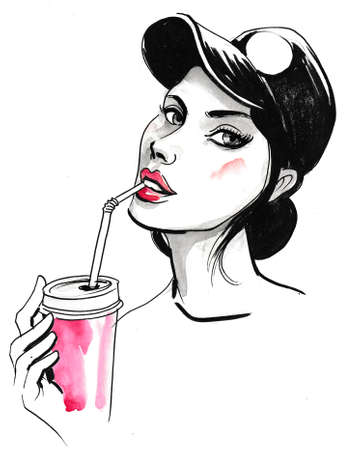 Pretty girl in cap drinking beverage with a straw. Ink and watercolor
