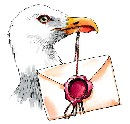 Seagull with a sealed envelope. Ink and watercolor
