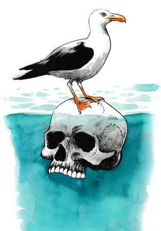 Seagull sitting on a floating human skull. Ink and watercolor