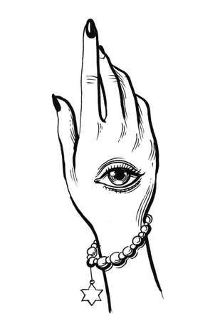 Hand with eye tattoo. Ink black and white drawing