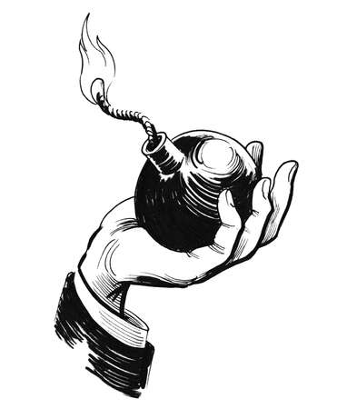 Hand holding a bomb. Ink black and white drawing