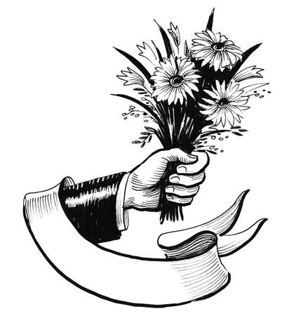 Hand with a flower bouquet and blank banner. Ink black and white drawing