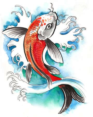 Pretty carp fish in the water.