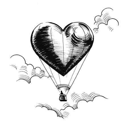 Heart shaped balloon in flying in the air. Ink black and white drawing