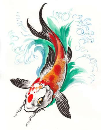 Koi carp fish in water. Ink and watercolor Stok Fotoğraf