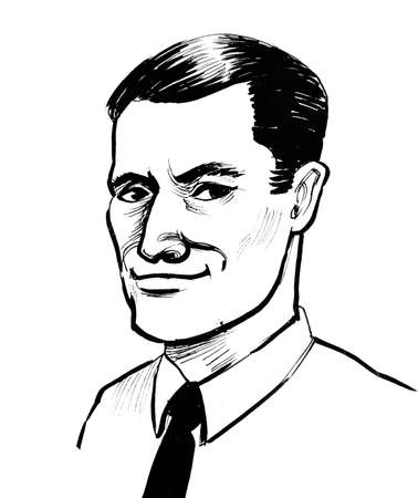 Young man in white shirt and tie. Ink black and white drawing