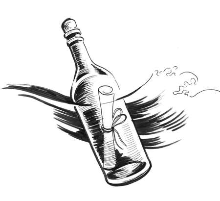 Message in the bottle. Ink black and white drawing