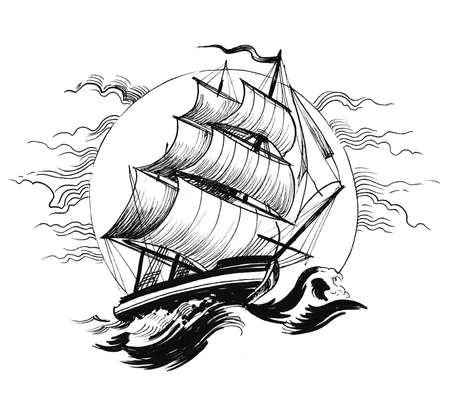 Sailing ship in stormy sea. Ink black and white drawing