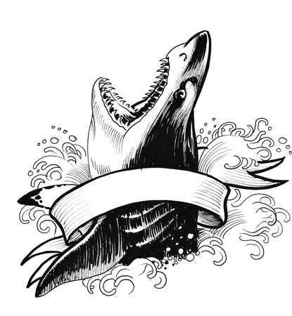 Shark in sea and blank banner. Ink black and white drawing