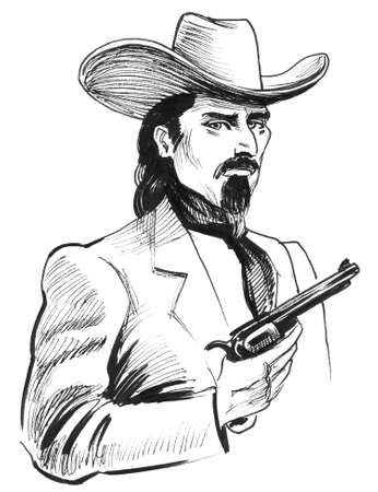 Wild West sheriff. Ink black and white drawing Stok Fotoğraf