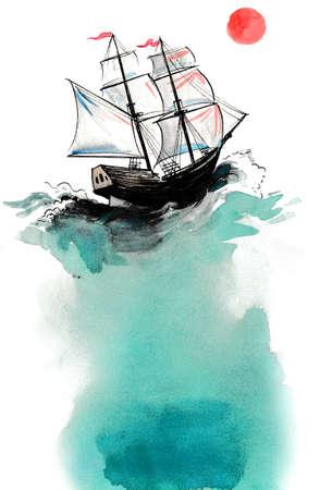 Sailing  ship and red sun. Stok Fotoğraf
