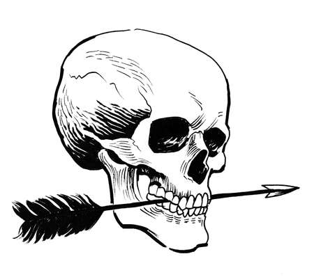 Human skull and arrow. Ink black and white drawing Stockfoto - 120883410