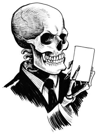 Skeleton with a playing card. Ink black and white drawing Stock Photo