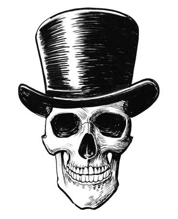 Human skull in cylinder hat. Ink black and white drawing