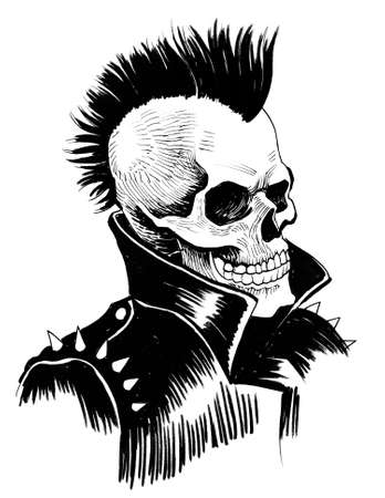 Dead punk. Ink black and white drawing 版權商用圖片