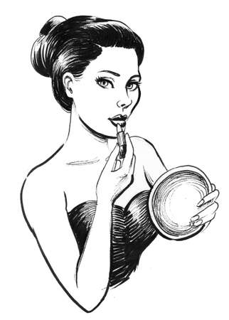 Pretty woman with a mirror and lipstick. Ink black and white drawing Stok Fotoğraf