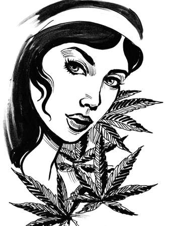 Pretty woman and cannabis leaves. Ink black and white drawing