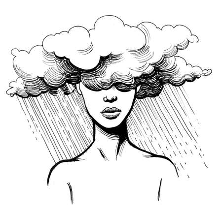 Lady in the rain. Ink black and white drawing