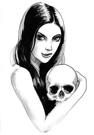 Girl and skull. Ink black and white drawing Stok Fotoğraf