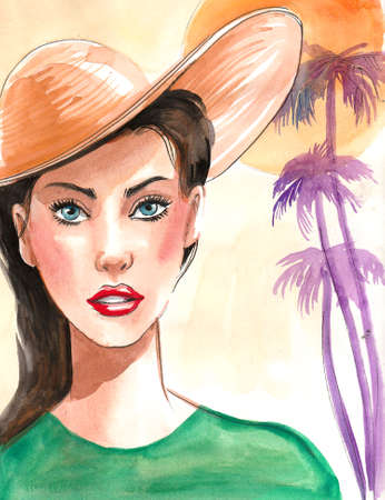 Pretty woman in hat on the beach. Ink and watercolor illustration