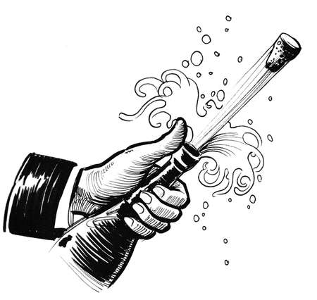 Opening the Champagne bottle. Ink black and white drawing