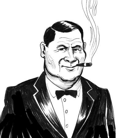 Businessman with a smoking cigar on white