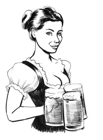 Pretty German waitress with a beer mugs. Ink black and white Stok Fotoğraf