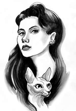 Pretty woman with a sphinx cat. Ink and watercolor